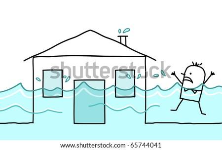 hand drawn cartoon character - man with house & flood - stock vector