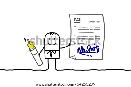 hand drawn cartoon characters - businessman signing contract
