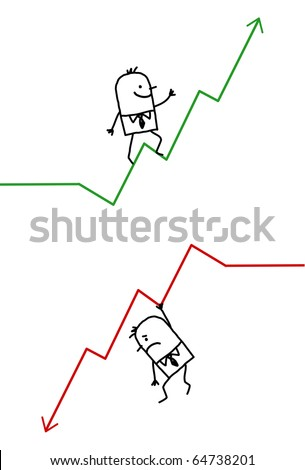 hand drawn cartoon characters - businessman up & down