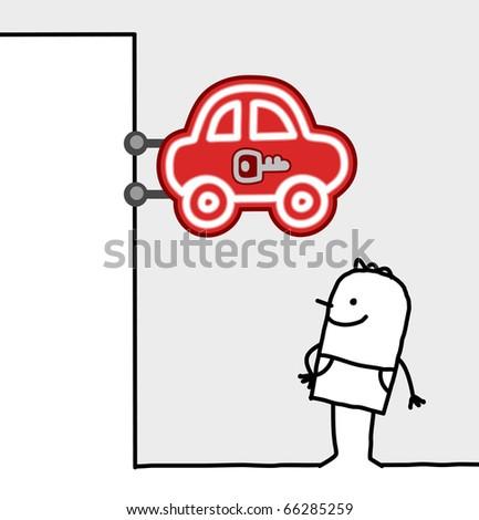 hand drawn cartoon characters - consumer & shop sign - cars