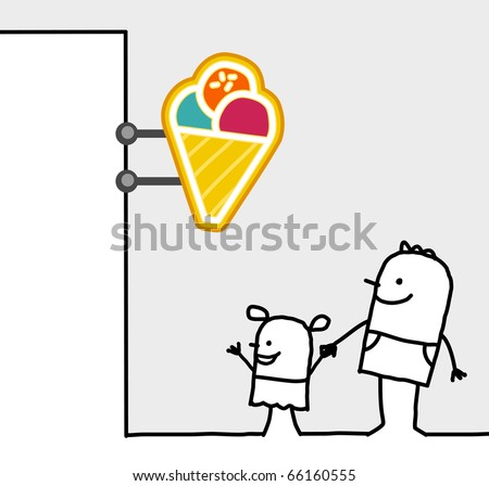 hand drawn cartoon characters - consumer & shop sign - ice cream