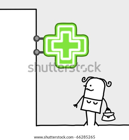 hand drawn cartoon characters - consumer & shop sign - pharmacy