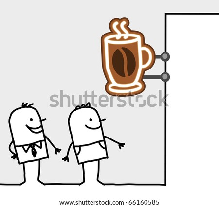 hand drawn cartoon characters - consumers & shop sign - coffee break