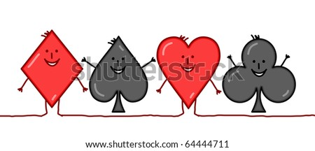hand drawn cartoon characters - Diamond, spade, heart, clover