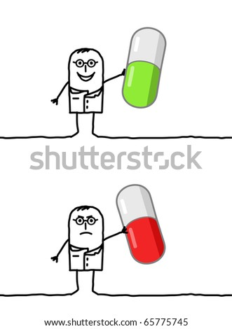 hand drawn cartoon characters - doctor & good or bad medicine