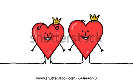 hand drawn cartoon characters - King & Queen of hearts - stock vector