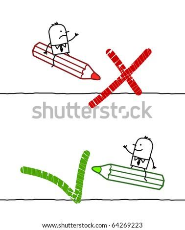hand drawn cartoon characters - NO & OK signs