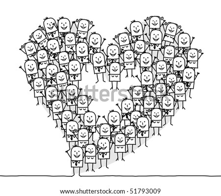 stock vector : hand drawn cartoon characters - people & heart
