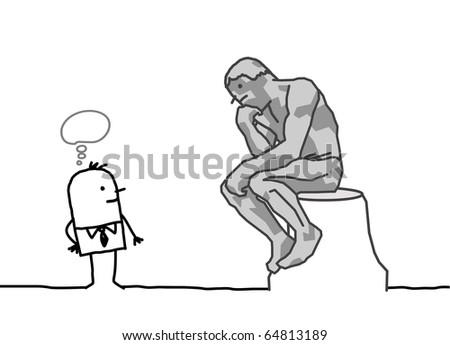 hand drawn cartoon characters - The Rodin's thinker parody