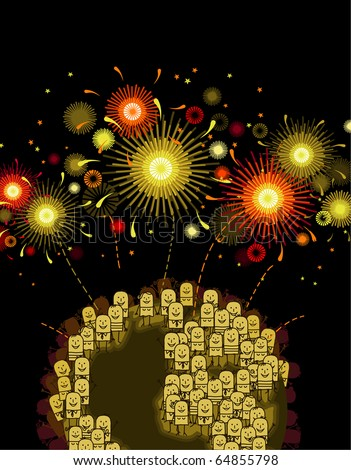 hand drawn cartoon characters - world people & golden fireworks