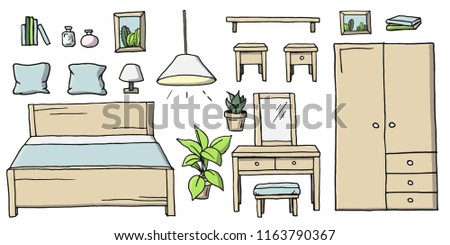 Hand drawn cartoon colored bedroom furniture set. Collection of room furnishing elements and indoor decor vector illustrations isolated on a white background