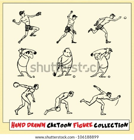 Hand drawn cartoon figures in motion on light yellow background (1)