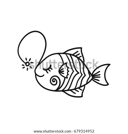 hand drawn cartoon funny fish