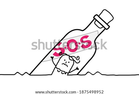 Hand drawn Cartoon Girl who needs Help, in a floating S.O.S Bottle Foto stock ©