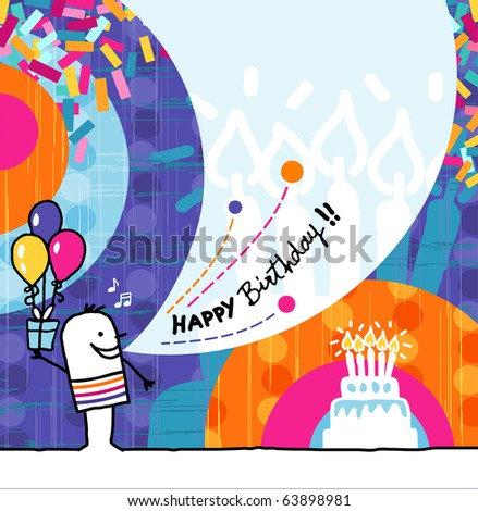 hand drawn cartoon & greeting card - Birthday