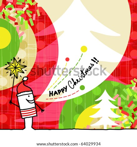 hand drawn cartoon & greeting card - Christmas