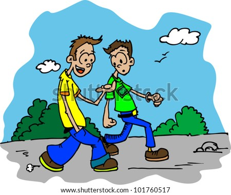 hand drawn cartoon illustration of two guys walking down the road and talking