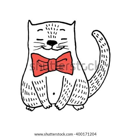 hand drawn cartoon kitten with