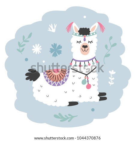Hand Drawn Cartoon Llama. Cute Alpaca. Nursery Childish Print. Vector illustration