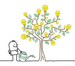Hand drawn Cartoon Man Watering a big Tree with Light Bulbs