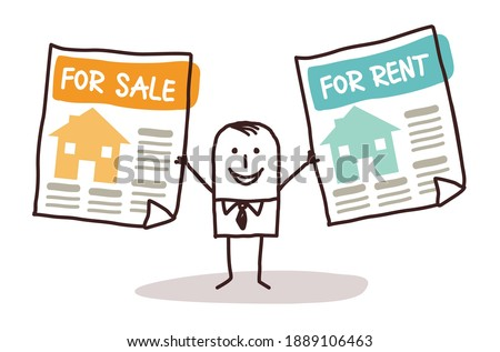 Hand drawn Cartoon Real Estate Agent with Houses for Sale or Rent Foto stock ©