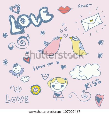 Hand-drawn cartoon romantic set