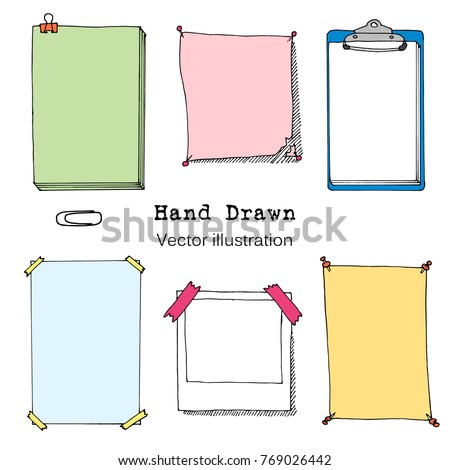 Hand drawn cartoon vector set of paper sheet, folder, sticky note, bundle of paper, poster. Colorful Paper page with pin, tape and paperclip. Doodle style illustration. Collection of icons