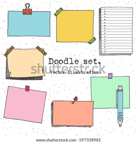 Hand drawn cartoon vector set of paper sheet, pack of paper, tag, sticky note, notepad page with pin, scotch tape and paperclip. Doodle style illustration. Collection of doodle icons