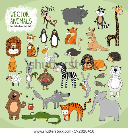 hand drawn cartoon vector wild