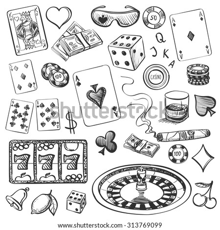 Hand drawn Casino Collection illustration with roulette, cards, cigar, whiskey, casino chip, jdice, money