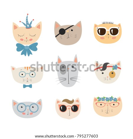 Stock Photo Hand drawn cat faces set. Cute doodle vector animal heads