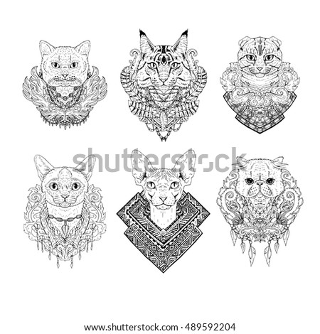 hand drawn cat faces set of