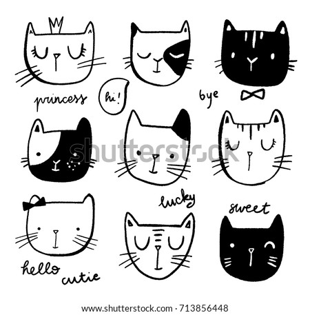 hand drawn cat faces set with