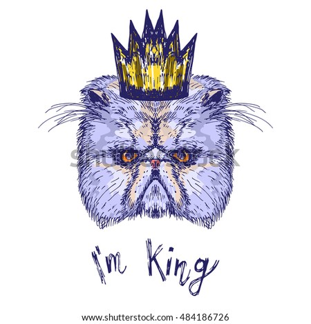Hand drawn cat head with crown and words I'm King, vector illustration #484186726