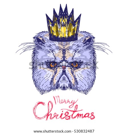 Hand drawn cat head with quote Merry Christmas, vector illustration #530832487
