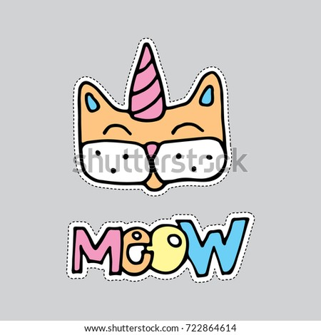 hand drawn cat illustration saying meow. Perfect for pin badges, stickers or patches
