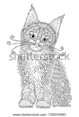 Hand drawn cat. Sketch for anti-stress adult coloring book in zen-tangle style. Vector illustration for coloring page or for print on T-shirt.