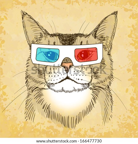 hand drawn cat with 3d glasses