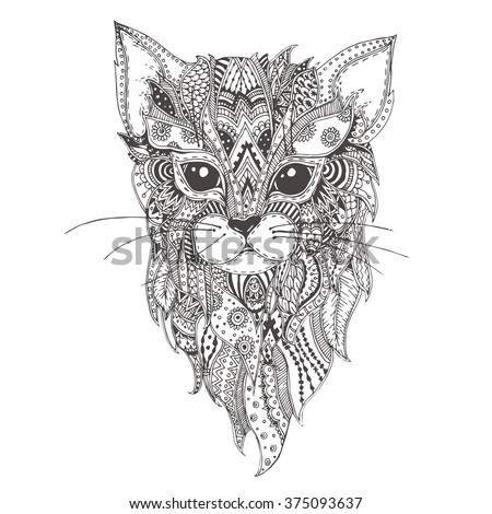 Hand-drawn cat with ethnic floral doodle pattern. Coloring page - zendala, design for spiritual relaxation for adults, vector illustration, isolated on a white background. Zen doodles.
