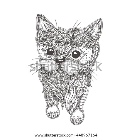 hand drawn cat with ethnic