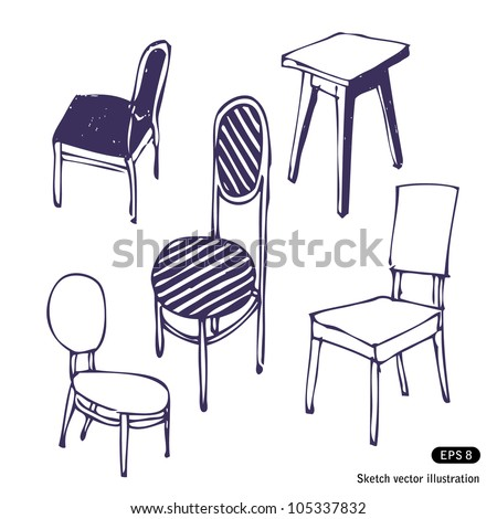 Hand-drawn chairs. Hand drawn sketch illustration isolated on white background