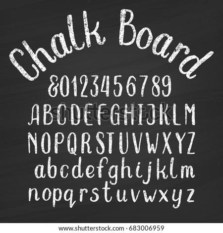 hand drawn chalk board alphabet ...