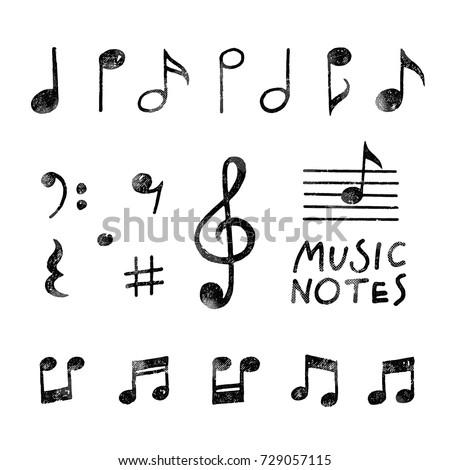 Hand Drawn Chalk Grunge Notes And Music Symbols Vector Illustrations