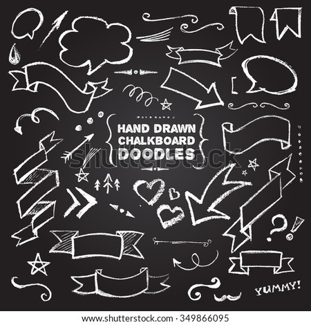 Hand Drawn Chalkboard Doodles including bubbles, arrows, banners & decorative elements on black background