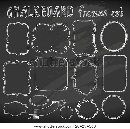 hand-drawn chalkboard frames set