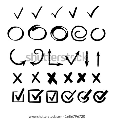 Hand drawn check signs. Mark for list items. Vector checklist marks icon set.  Foto stock ©