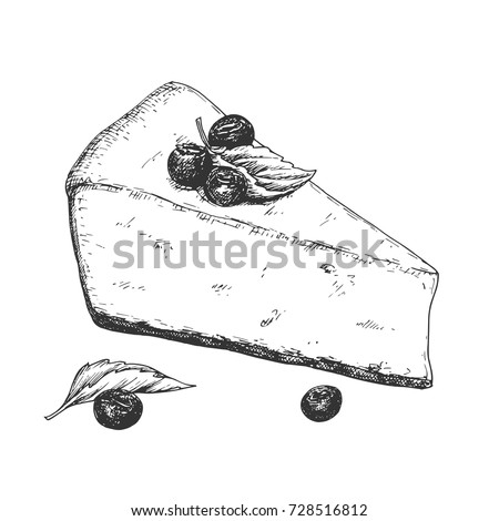 Hand drawn cheesecake piece with berries and leaves, black and white draft sketch isolated on white background. Vintage vector illustration.