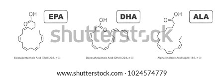 Hand drawn chemical structure of omega-3 fatty acids. Eicosapentaenoic Acid (EPA), Docosahexaenoic Acid (DHA) and Alpha-linolenic Acid (ALA).