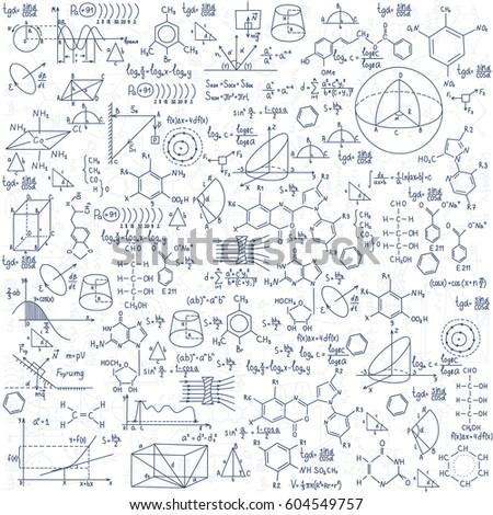 Hand drawn chemistry formulas Science knowledge education.
