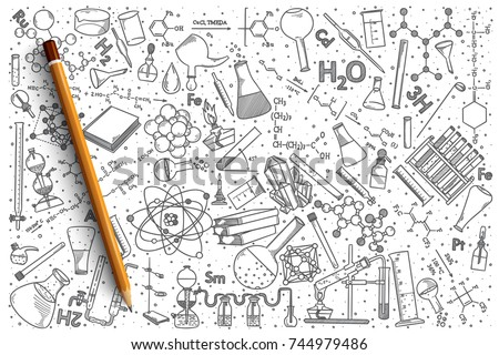 Hand drawn Chemistry vector doodle set background